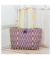 recycled plastic tote, 'delightful day in blue-violet' (guatemala)