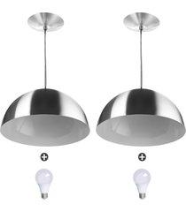 2 lustres pendente meia lua 30cm alumínio escovado + lampada