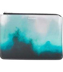 acne studios tie-dye effect zipped wallet - silver
