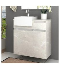 gabinete para banheiro 1 porta 2 gavetas com cuba cora bosi reale/branco