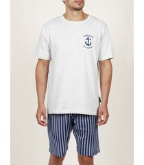 pyjama's / nachthemden admas for men innerwear pyjama kort t-shirt stay anchor white admas