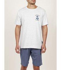 pyjama's / nachthemden admas for men tenue d'intérieur pyjama short t-shirt stay anchor blanc admas