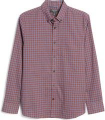 men's nordstrom trim fit gingham linen & cotton button-down shirt, size medium - red