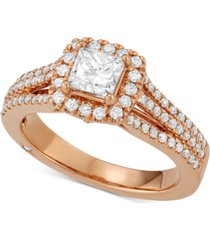 celeste halo by marchesa princess cut diamond engagement ring (1-1/5 ct. t.w.) in 18k white, yellow or rose gold, created for macy's