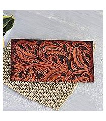 leather wallet, 'heavenly vines' (india)