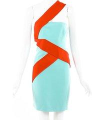 versace silk one shoulder dress blue/red sz: m