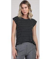 blusa feminina manga curta decote redondo preto