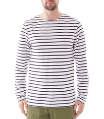 armor lux long sleeve striped t-shirt | white and navy | 73792-400