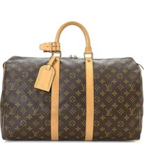louis vuitton pre-owned keepall 45 travel bag - brown