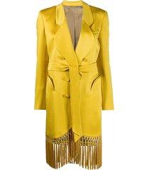 blazé milano fringed hem longline blazer jacket - yellow