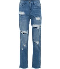 mom jeans sdruciti in cotone biologico (blu) - rainbow