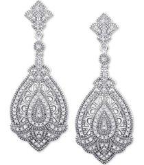 diamond decorative drop earrings (1/3 ct. t.w.) in sterling silver