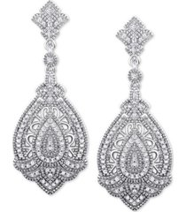 diamond decorative drop earrings (1/3 ct. t.w.) in sterling silver