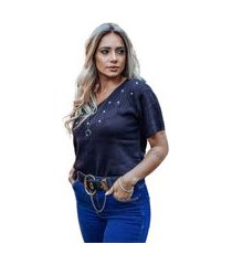 blusa tricot bete feminina shopping do tricô t-shirt gola v