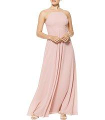 women's #levkoff halter neck chiffon a-line gown