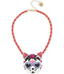 "betsey johnson gold-tone large sugar skull cat fabric-woven pendant necklace, 17"" + 3"" extender"