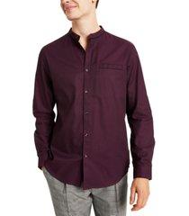 inc men's classic/regular-fit band-collar shirt, created for macy's