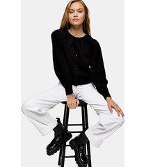 black crochet collar knitted cardigan - black