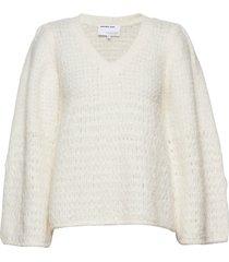 caress v-neck sweater stickad tröja vit designers, remix