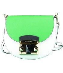 borsa a tracolla cromia it saffiano 1403640 bianco+verde