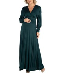24seven comfort apparel formal long sleeve maternity maxi dress