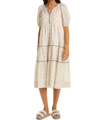 women's the great. the whipstitched ravine floral tiered midi dress, size 2 - ivory