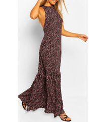 casual maxi-jurk met hoge kraag en gelaagde zoom, zwart
