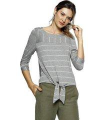 blusa energia fashion plus size manga 3/4 malha feminina - feminino