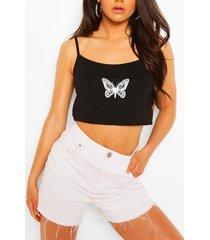 crop top hemdje met vlinder