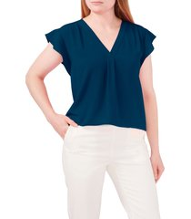 chaus flutter sleeve v-neck blouse, size small in indigo at nordstrom