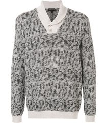 emporio armani knitted shawl-neck sweater - grey