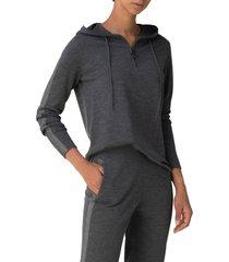 women's akris punto zip merino wool hoodie, size 18 - grey