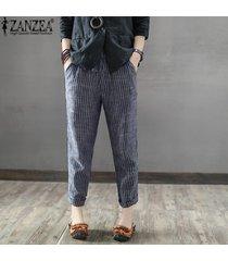 zanzea mujeres más el tamaño de los pantalones a rayas oficina ol cintura alta pantalones lápiz -azul