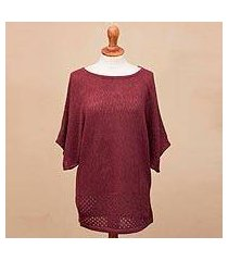 cotton blend pullover, 'wine zigzag' (peru)