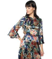 blusa con vuelo y golas ref. 137717 charby estamp floral