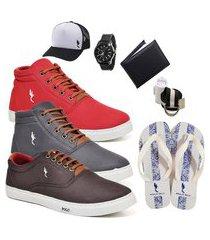 kit 3 pares sapatênis polo blu casual cano alto e cano baixo vermelho/cinza/café acompanha boné + cinto + meia + carteira + relógio + chinelo