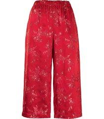 comme des garçons comme des garçons floral-print satin trousers - red