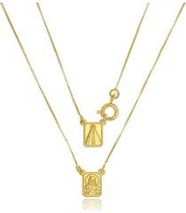 escapulário infantil nossa senhora di capri semi jóias x ouro dourado - tricae