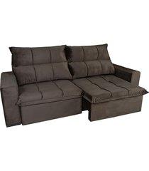 sofá retrátil e reclinável 4 lugares bressiani treviso, marrom