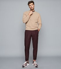 reiss arthur - garment dyed sweatshirt in camel, mens, size xxl