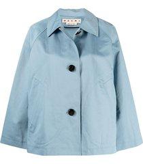 marni cropped a-line jacket - blue