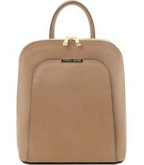 tuscany leather tl141631 tl bag - zaino donna in pelle saffiano caramello