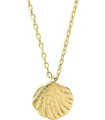 14k goldplated sterling silver shell pendant necklace