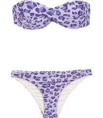 amir slama printed bandeau bikini set - pink
