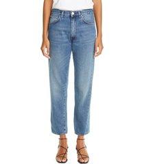 women's toteme twisted seam high waist straight leg crop jeans, size 29 - blue