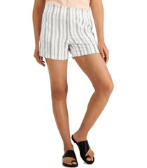 style & co striped pull-on shorts, created for macy's