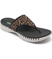 skechers women's gowalk smart wild cat flip flop thong sandals from finish line