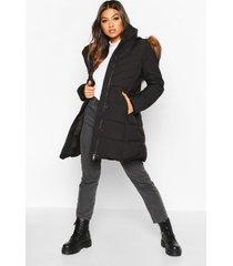 gewatteerde parka jas met stiksels en faux fur zoom, black