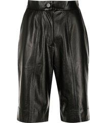 materiel faux-leather knee-lenght shorts - black