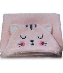 manta com capuz gatinha rosa - camesa